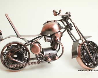 Recycled Metal Art Hand Made Vintage Harley-Davidson Motorcycle Model No. GM6-1A