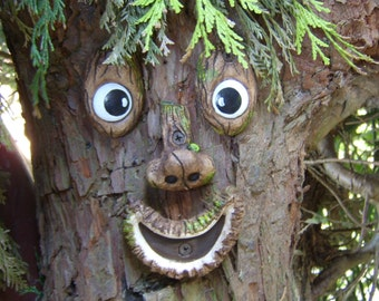 tree face garden ornament sculpture statue handmade tree decoration funny faces
