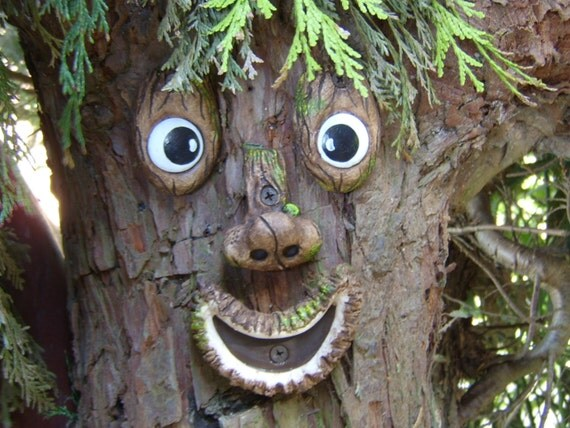 Tree Face Garden Ornament Sculpture Statue Handmade Tree