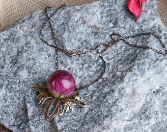 Ball pendant, Rose Pendant, Resin Rose, Floral  Jewelry, Eco Friendly Jewelry, Mothers Day Gift, Bohemian Jewelry, Plant Necklace