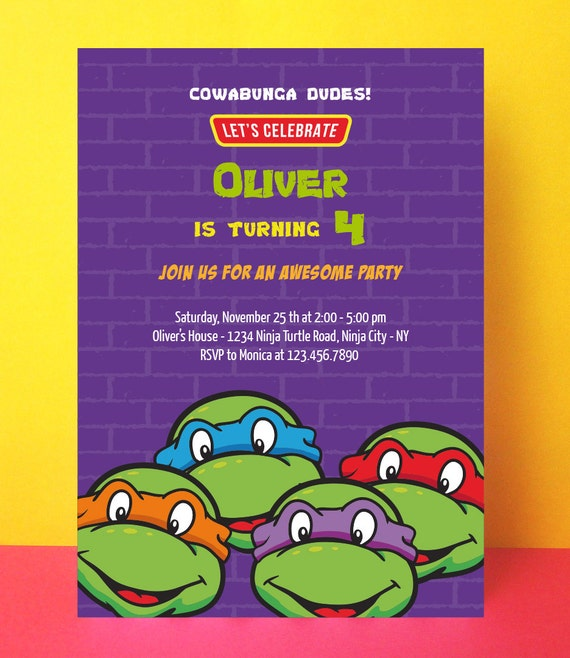 Declarative image regarding ninja turtle birthday invitations printable