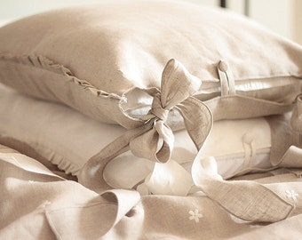 "Luxury Pure Linen pillow case 'Charlotte' with 2 long fastening ties - ruffles pillow case 20x26"" 20x20 20x30 26x26 20x36 - shabby euro sham"