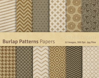 "Burlap Digital Patterns. ""Burlap"". Burlap Digital Paper Pack. Digital Jutte, Linen. 12 images, 300 Dpi. Jpg files. Instant Download."