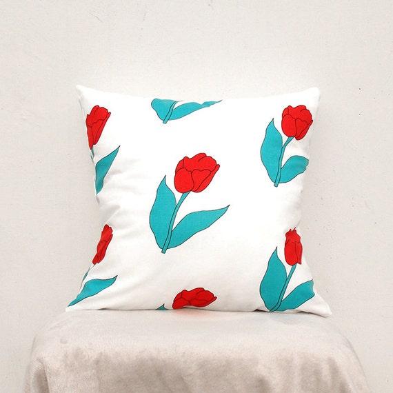 Decorative Pillow cover 16X16 Flower Pillow Case Tulip