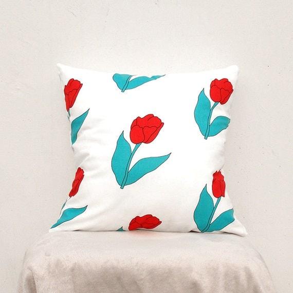 Decorative Pillow Covers 16x16 : Decorative Pillow cover 16X16 Flower Pillow Case Tulip