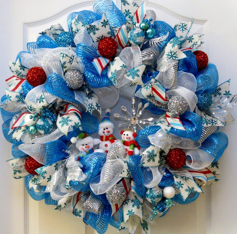 Snowman Wreath Deco Mesh Wreath Holiday Wreath Winter