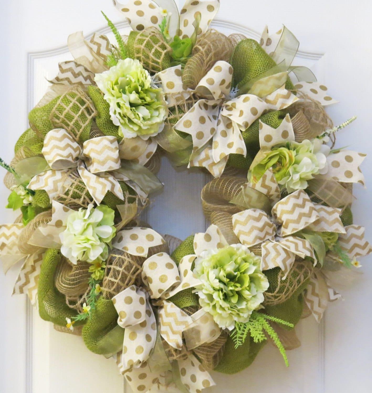 Summer Wreath summer burlap wreath summer Wreath Hydrangea