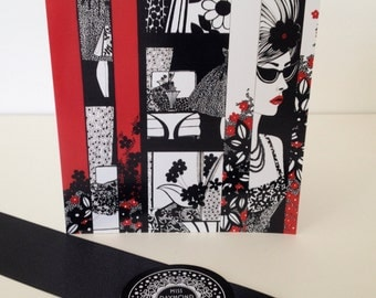 Black White and Red Ink Illustrated Blank Greeting Card ' Miss Poppy'