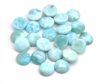 LARIMAR Lot of 10 Genuine DOMINCAN 10mm Round Calibrated Cabochon 100% NATURAL,