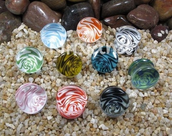 "Dream Plugs Pyrex Glass - One Pair (2 pieces) Gauges 00g 7/16"" 1/2"" 9/16"" 5/8"" 9.5 mm 10 mm 11.1 mm 12.7 mm 14 mm 16 mm"