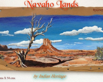 "picture Original painting on leather ""Navaho land """