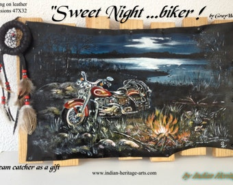 "Painting on leather ""Sweet night ...biker"" dream catcher"