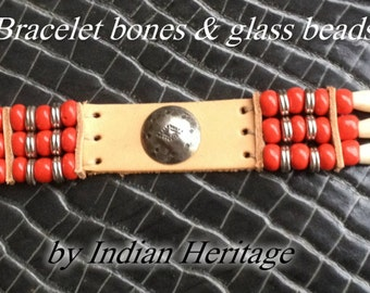 Indian bracelet bones 3 rows  red - concho ref: B 59