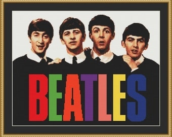 Beatles Band Counted Cross Stitch Pattern in PDF for Instant Download