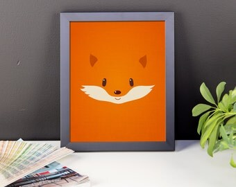 Framed Fox Digital Print, Nursery Art, Kids Room, Animal Print, Bright Orange, Cute, Modern Art Wall Decor