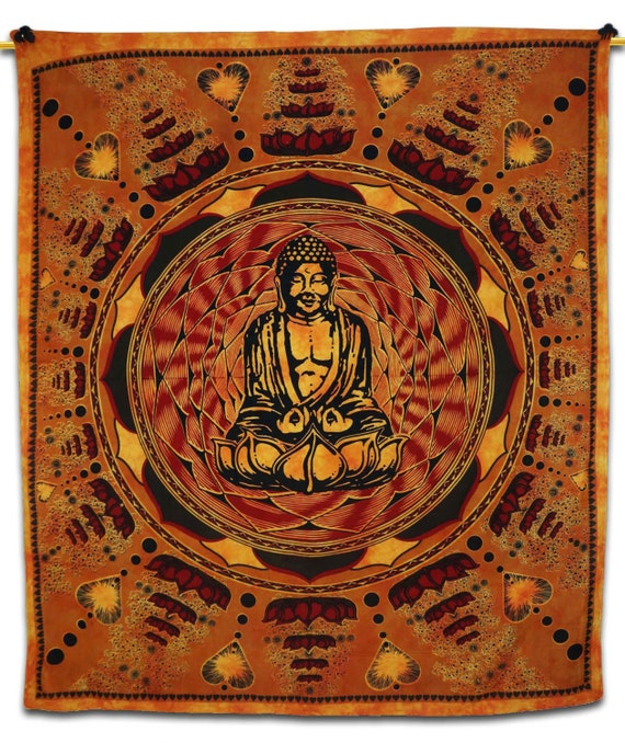 Queen Blue Indian Buddha Tie Dye Tapestry Wall Hanging ... |Buddha Wall Tapestry