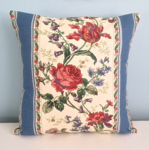 French Country pillow cover. Blue ivory red by sterlingstitchery
