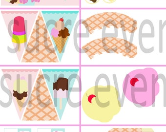 Printable party kit decoration party candy bar printable kit party decoration ice cream party ice cream printable