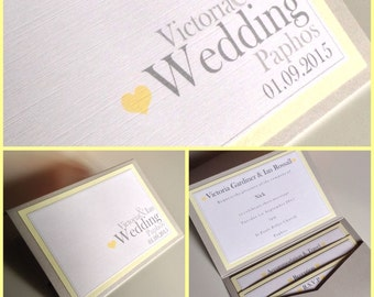Plain & Simple Pocketfold Wedding Invitations | Love Heart | Contemporary