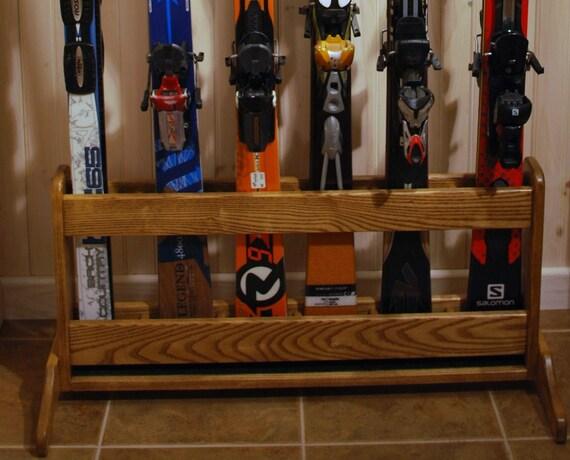 Items similar to Freestanding Wooden Ski Rack for Standard Shaped ...