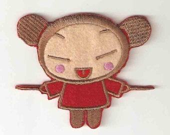 Pucca w chopsticks Chinese Girl Embroidered Iron On / Sew On Patch