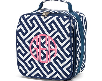 Monogram Lunch Box/ Personalized Lunch Bag/ Back to School/ Monogram Back to School/ Monogram Bottle Bag