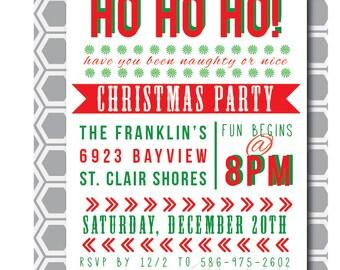 Ho! Ho! Ho! Christmas, Printable Invitation, 5X7