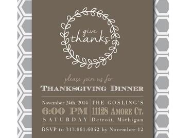 Thanksgiving Dinner, Printable Invitation, 5x7