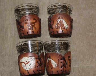 4 Glass Cups w Leather Handcrafted Cup Holders, Unique, Home Decoration, Animals Like Horses, They Come Off For Easy Cleaning, Collectible