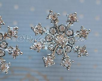 Winter Wedding Bridal Jewelry Crystal Snowflake Earrings. Winter Wedding Earrings. Bridesmaids Earrings. Wedding Bridal Gift, Ruby Blooms