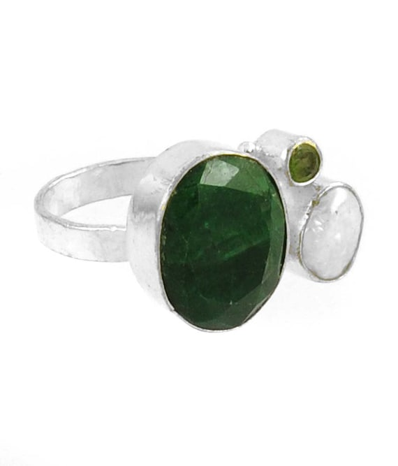 3 ring emerald pearl and peridot amazing quality by