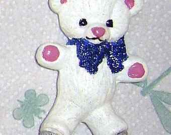 WHite Ceramic Bear Ornament with sparkly bow