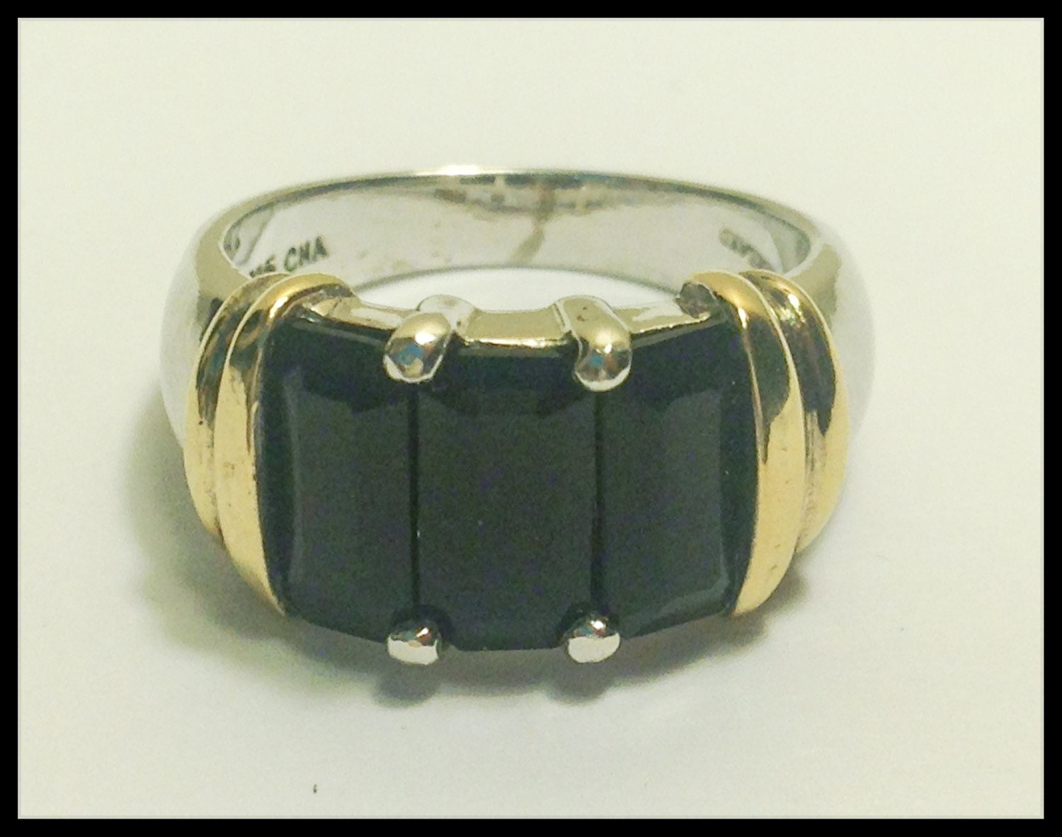 vintage black onyx sterling silver ring by ourvintagetonow