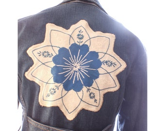 upcycled jacket, womens, denim, jacket, pea coat, ooak, stretch, extra small, one of a kind,blue, star, embroidered patch, repurposed, gift