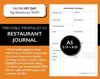 A5 Filofax Restaurant Journal - Restaurant Planner Insert - Minimalist Design