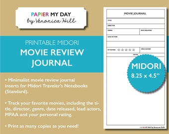 Midori Travelers Notebook Movie Journal - Printable Movie Review Journal for MTN