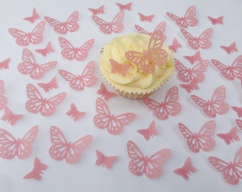 48 Edible Dusky Pink Butterfly Wafer Cupcake Toppers Precut