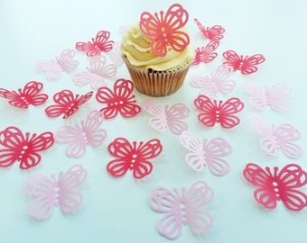 24 Edible Large Lace Hot Pink and Pink Butterfly Wafer Cupcake Toppers Precut