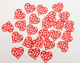 24 Edible Red Heart Wafer Cupcake Toppers Precut