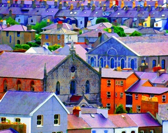 Colorful Houses Fine Art Photography Wall Photo Print, Homes Church Blue Lavender Orange City Rooftop View Village Urban Landscape Cityscape