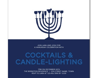 "Hanukkah Party 6"" Square Invitation with hand-drawn menorah - Cocktails & Candle-Lighting - Printable and Personalized"