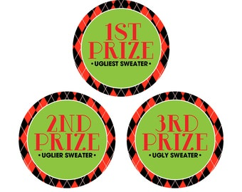 "INSTANT DOWNLOAD - Printable Prize Stickers/Tags - 3"" - Ugly Christmas Sweater Party - The Good. The Bad. The Ugly."