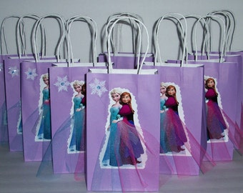 INSPIRED 12pc Disney Frozen  12PC Elsa  Birthday Party Favor Goody Gift 3D Bags hand made real picture