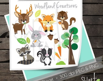 Woodland Creatures Digital Clipart, Woodland Animal Clip Art, Forest Animals, Instant Download