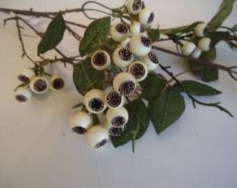 "30"" Cream Berry Stem DIY Floral Supplies Cottage Decor Small Artificial Berries Centerpiece Materials #280A"