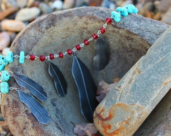 "28"" Red Crystal and Turquoise Necklace with Silver Feathers and Matching Earrings"
