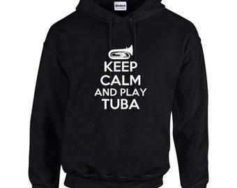 Keep Calm And Play Tuba Mens Hoodie  Funny Humor