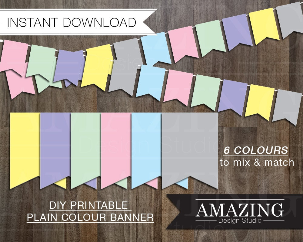 pastel color banner diy printable instant download birthday. Black Bedroom Furniture Sets. Home Design Ideas