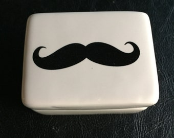 Mustache Trinket Box, Porcelain, Keepsake box, Quantity 1