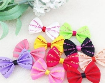 40pcs Letter Ribbon Bows Flowers Wedding Appliques Accessories Craft A0172